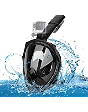 Dsoso Snorkel Mask,Full Face Foldable Snorkeling Mask Set with Camera Mount,180° Panoramic View,Easy Breathing and Anti-Fog Anti-Leak Scuba Diving Mask for Adult and Kids