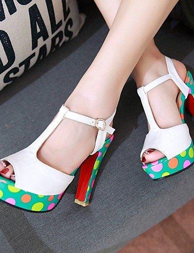 LFNLYX Zapatos de mujer-Tacón Robusto-Tacones / Comfort / Innovador / Náuticos / Punta Redonda / Botas a la Moda / Zapatos y Bolsos a Juego- White