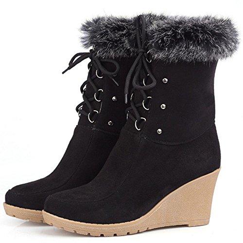 COOLCEPT Damen Winter Keilabsatz Stiefel Schnurung Black