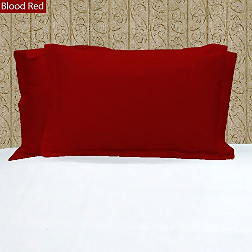100% Egyptian Cotton 2 PC Pillowcases ~ 400 Thread Count Solid Pattern (King , Blood - Made In Store India