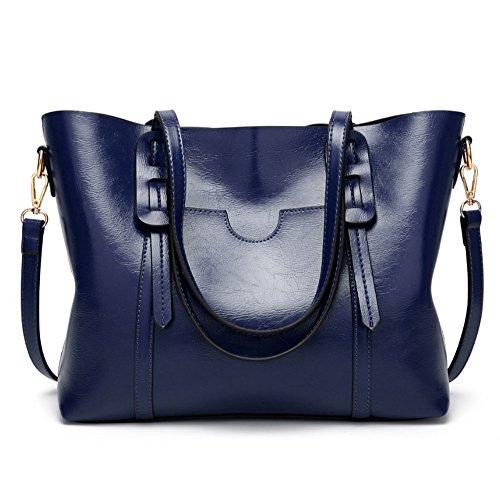 singola borsa mano a semplice in di moda pelle singola signora Colore borsa scuro cera mano Blu a HAOYUXIANG Nero Borsa spalla olio di tIaqww