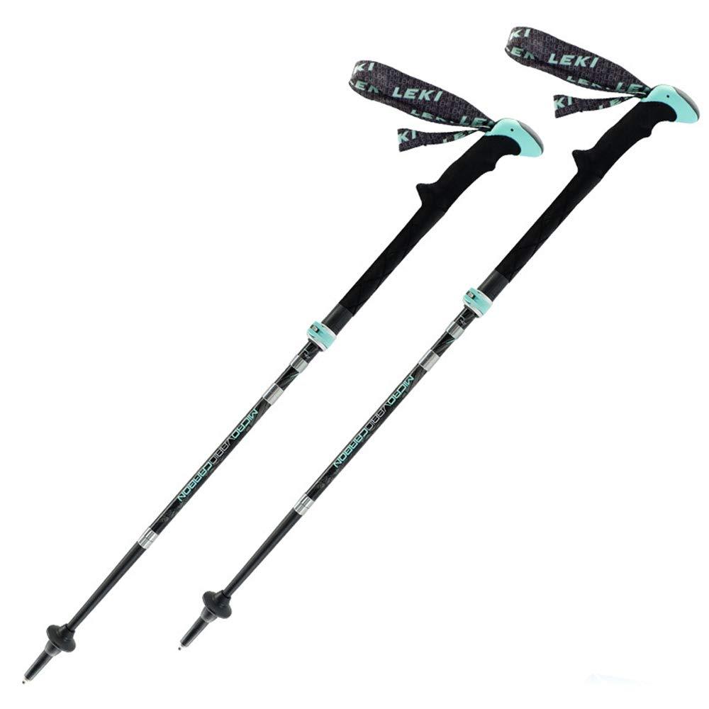 トレッキングポール - 高合金炭素繊維フォールディング伸縮トレッキングポールハイキング(1ペアギフトボックス) アウトドア製品  青 B07K87M6ST