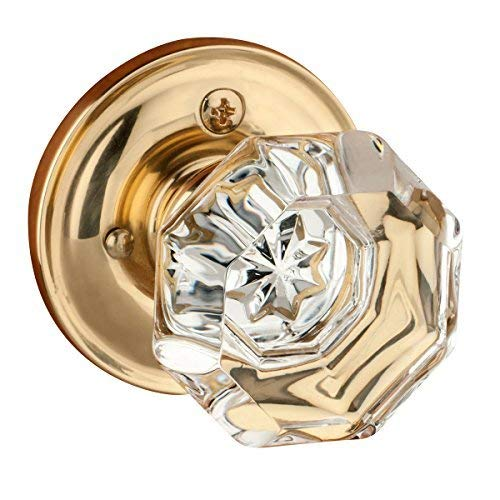 Dynasty Hardware Classic Rosette, Crystal Style Door Knob, Privacy - Bed/Bath Function, Polished Brass