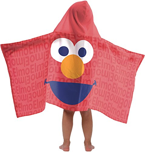 (Jay Franco Sesame Street Super Soft & Absorbent Kids Hooded Bath/Pool/Beach Towel, Featuring Elmo - Fade Resistant Cotton Terry Towel, 22.5