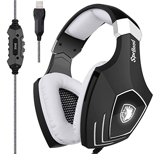 [2017 Newly Updated USB Gaming Headset] SADES A60/OMG Computer Over Ear Stereo Headsets Heaphones With Microphone Noise Isolating Volume Control LED Light (Black+White) For PC And MAC by SADES