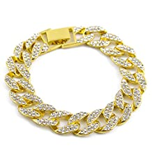 AOVR Hot MIAMI CUBAN LINK CZ CRYSTAL Gold Silver Plated 15mm Fully Iced-Out Chain Bracelet