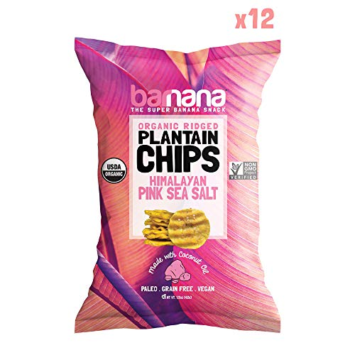 Barnana Organic Plantain Chips - Himalayan Pink Salt - 1.5 Ounce, 12 Pack Plantains - Barnana Salty, Crunchy, Thick Sliced Snack - Best Chip For Your Everyday Life - Cooked in Premium Coconut Oil