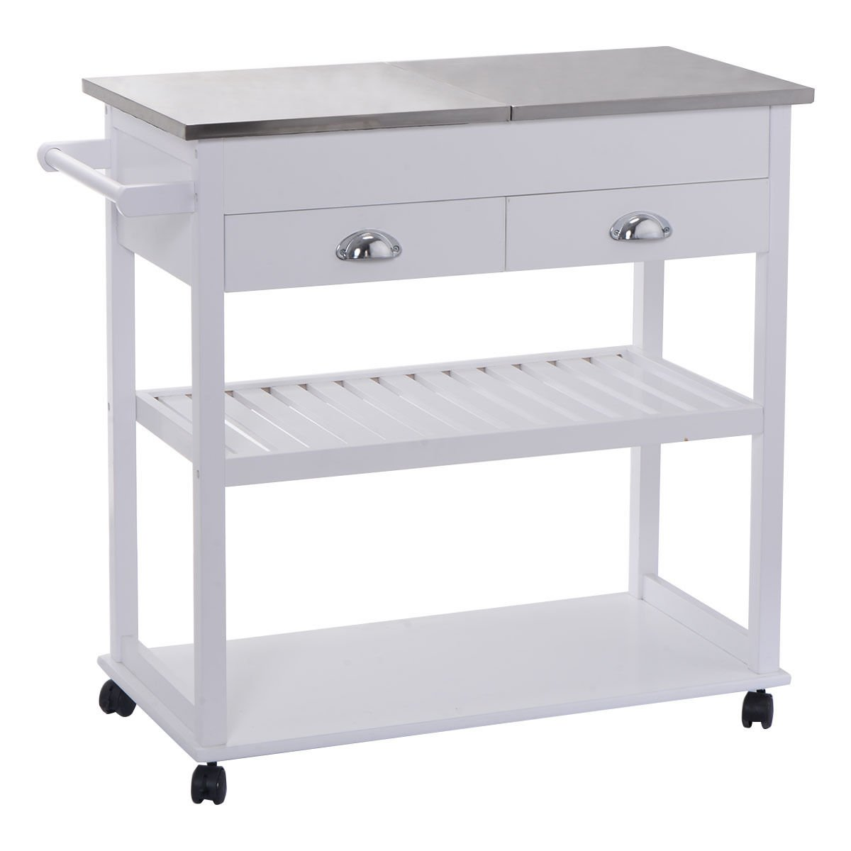 White rolling kitchen trolley cart stainless steel flip top drawers casters which is a perfect addition to your apartment or home It provides both functionality