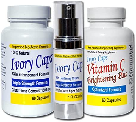 IvoryCaps System 1 (Basic System) Skin Whitening Lightening Support Systems (Save $45.00)