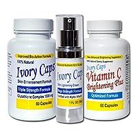 IvoryCaps System 1 (Basic System) Skin Whitening Lightening Support Systems (Save $45.00)