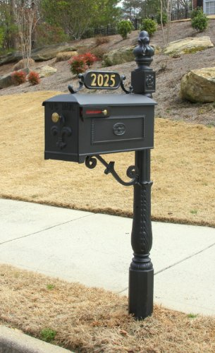 Addresses of Distinction Williamsburg Mailbox & Post Kit Style 211 – Black Estate Mailbox System with Fleur De Lis – Includes Address Plaque, Numbers & Mounting Hardware - Rust Free Cast Aluminum -