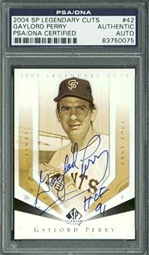 Giants Gaylord Perry Signed Card 2004 Sp Legendary Cuts #42 Slabbed - PSA/DNA Certified - Baseball Slabbed Autographed Cards