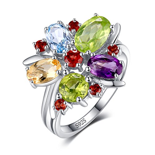 (JewelryPalace Flower Multicolor 3.1ct Natural Amethyst Garnet Peridot Citrine Blue Topaz Cocktail Ring 925 Sterling SilverSize 5)