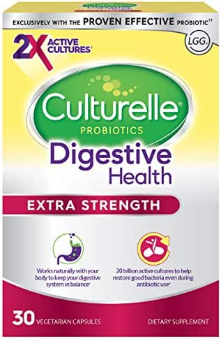 Culturelle Extra Strength Digestive Health Daily Probiotic | 30 Count| Contains 2X Times The Proven Effective Probiotic | Doctor Recommended for Digestive Health | One Per Day Dietary Supplement