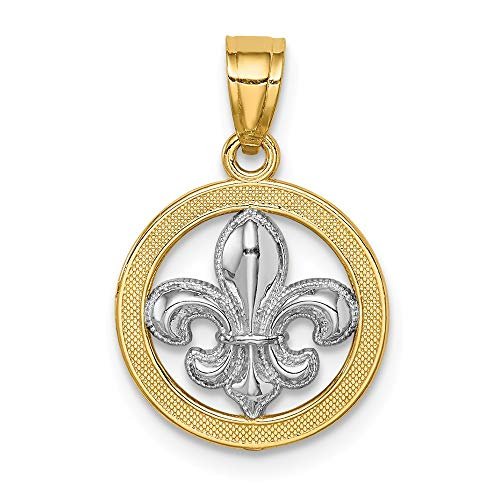 14k Yellow Gold Fleur De Lis Pendant Charm Necklace Man Fine Jewelry Gift For Dad Mens For Him ()