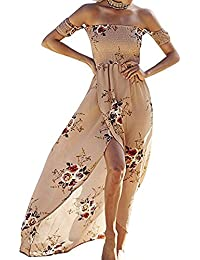 Women Floral Off the Shoulder Split Chiffon Maxi Beach...