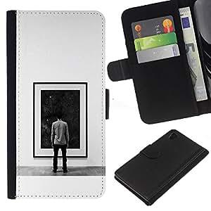 "A-type (Pintura Espacio Profundo"") Colorida Impresión Funda Cuero Monedero Caja Bolsa Cubierta Caja Piel Card Slots Para Sony Xperia Z4v / Sony Xperia Z4 / E6508"