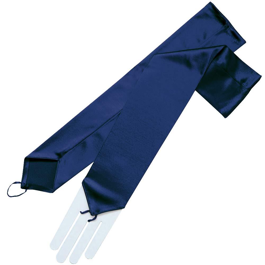 ZaZa Bridal Stretch Satin Fingerless Gloves Opera Length 16BL-Dark Navy