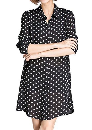 Luna et Margarita Black & White Polka Dot Shirt Dress Long Sleeves Size 8-22