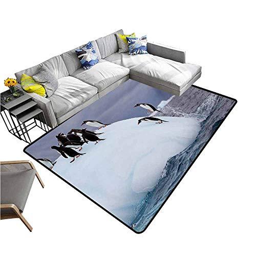 (Anti-Slip Outdoor Rugs Underwater,Gentoo Penguin On Iceberg Freezing Wilderness Antarctic Landscape Print,White Blue Grey 36