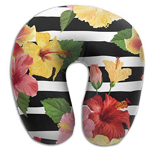 - Neck Pillow Tropical Hibiscus Flower U-Shape Travel Pillow Ergonomic Contoured Design Washable Cover Airplane Train Car Bus Office
