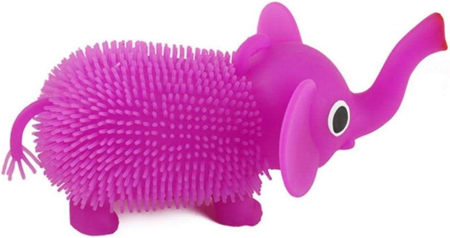Kekailu Squeeze Toy,LED Glowing Hair Puffer Elephant Sensory Fidget Squeeze Stress Vent Kids Toy,Random Color