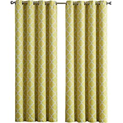 "HLC.ME Lattice Print Thermal Insulated Room Darkening Blackout Curtains for Bedroom - Bright Yellow - 52"" W x 84"" L - Set of 2"