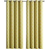 ME Lattice Print Thermal Insulated Room Darkening Blackout Curtains For  Bedroom   Bright Yellow