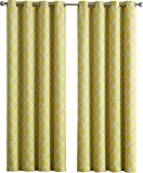 yellow insulated grommet curtains - HLC.ME Lattice Print Thermal Insulated Blackout Curtains for Living Room - Bright Yellow - 52