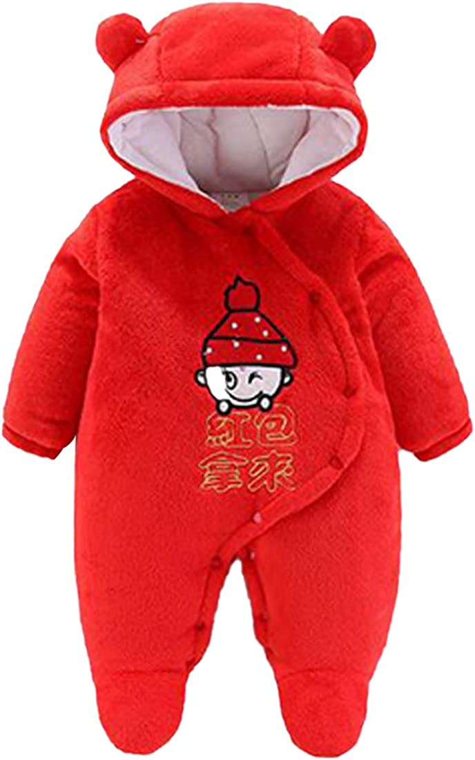 GYUANLAI Unisex Baby Hooded Long Sleeve Cute Warm red Romper Jumpsuits Coat