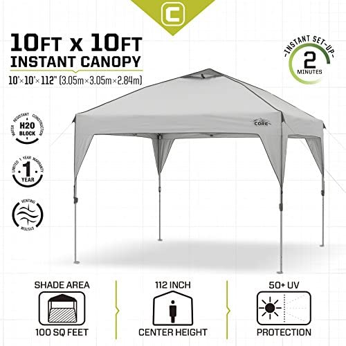 CORE 10' x 10' Instant Shelter Pop-Up Canopy Tent with Wheeled Carry Bag 2