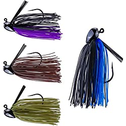 RUNCL Anchor Box - Flipping Jigs, Bass Fishing Jigs 3/8oz - Double Spike Trailer Keeper, Silicone Skirts, Taper-Shaped Streamlined Head, Weedguard System, Proven Colors - Fishing Lures (Pack of 4)