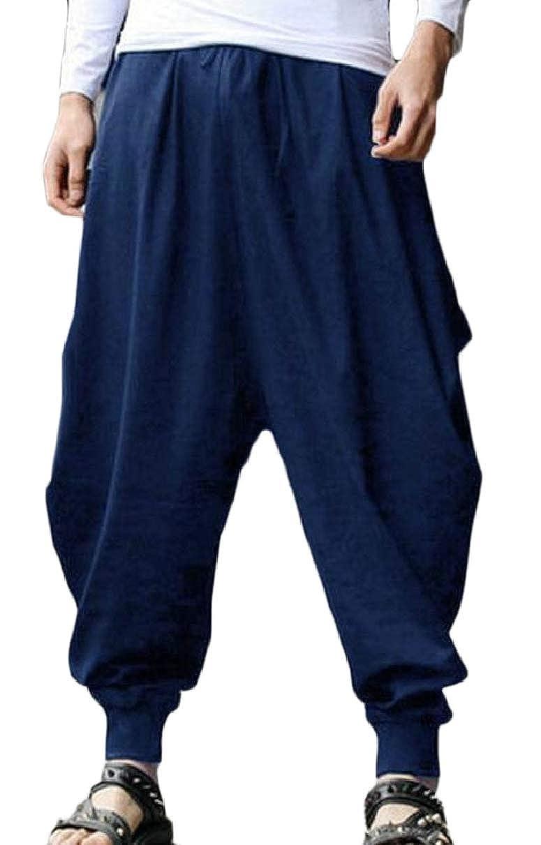 YIhujiuben Men/'s Casual Classic Baggy Elastic Waist Wide Leg Harem Pants