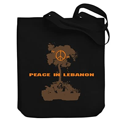 Teeburon Peace in Lebanon Tank Canvas Tote Bag