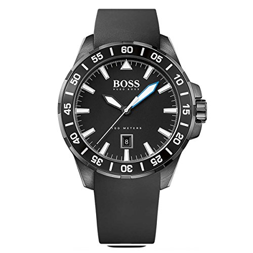 Hugo Boss Ocean Deep Black Silicone Quartz Analog Men's Watch 1513229