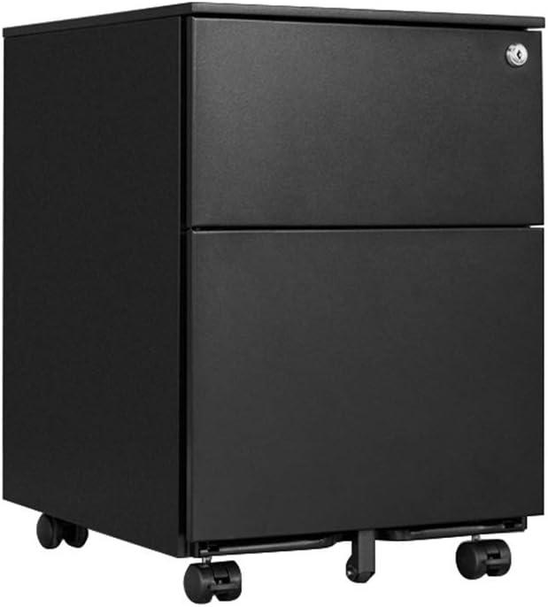 2層ファイルキャビネット、ロック小さなキャビネットで移動するスチール製オフィスプーリー(55.1x45x39cm) (Color : Black)