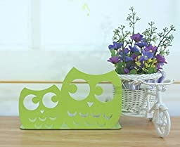 Sharing Star One Pair Novelty Owl Shaped Library School Office Home Study Metal Bookends Nonskid Bookends Bookend Art Gift Art Bookend (Green)