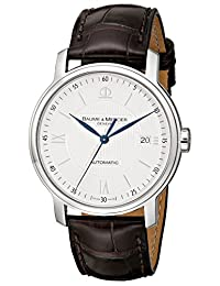 Baume Mercier Men's Classima Automatic Leather Strap Watch Silver A8791