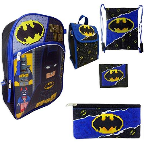 Price comparison product image Kids Lego Batman 5 pc Backpack,  Lunch Bag,  Pencil Case,  Wallet,  Cinch Sack Set
