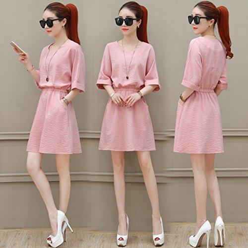 sección falda vestido Pink De Vestido Xuanytp Alta Delgada Playa vestido Larga vestido Cintura Encaje Zq0CxU
