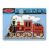 Melissa & Doug Train Sound Puzzle - Wooden Peg Puzzle With Sound Effects (9 pcs)
