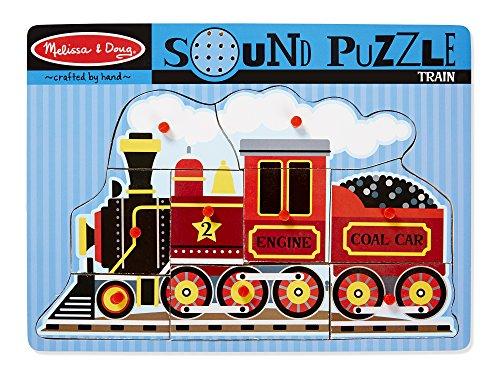 Melissa & Doug Train Sound Puzzle - Wooden Peg Puzzle With Sound Effects (9 pcs) -