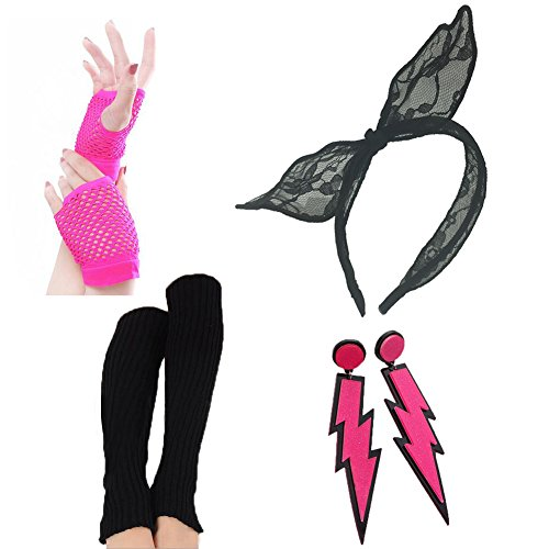 80s Party Outfits (80s Fancy Outfit Costume Accessories Set-Leg Warmers,Fishnet Gloves,Neon Earrings,Lace Headband(Black))