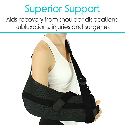 Vive Shoulder Sling - Abduction Immobilizer for Injury Support - Pain Relief Arm Pillow for Rotator Cuff, Sublexion, Surgery, Dislocated, Broken Arm - Brace Includes Pocket Strap, Stress Ball, Wedge by VIVE (Image #4)