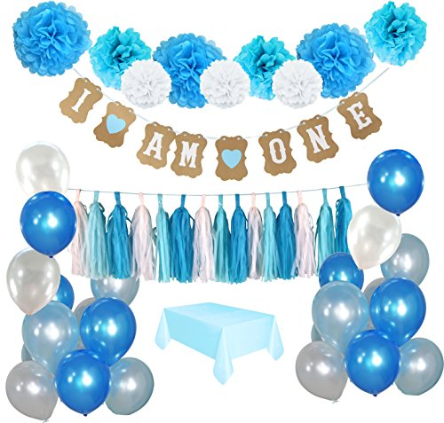 1st Birthday Boys Decoration kit- Complete 50 Pcs set Party Decoration- Beautiful Colors for First Baby Boys Birthday - Im One Banner and Tablecover included- By IBB
