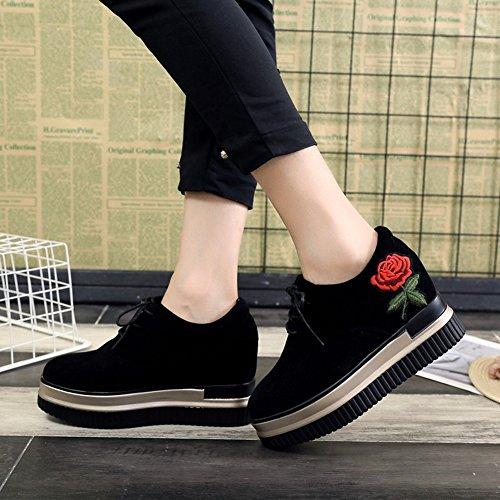 Cybling Mode Kvinnor Broderi Plattform Kil Sneakers Med Dolda Höga Klackar Snörning Promenadskor Svart