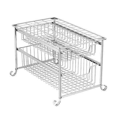 NEX 2-Tier Sliding Basket Organizer Under Sink Pull Out Organizer for Cabinet Kitchen Storage Drawers Bathroom, Plating