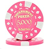 Pack of 25 Professional Tournament Hot-Stamped 12.5 Gram Poker Chips (Pink)