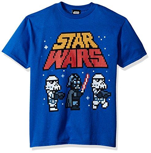 Star Wars Big Boys' Imperial pixelated Logo Vader Trooper Graphic Tee, Royal, - Pixelated Tie
