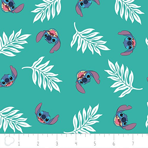Disney Fabric Lilo and Stitch Fabric Palm Leaves in Turquoise by the Yard ()